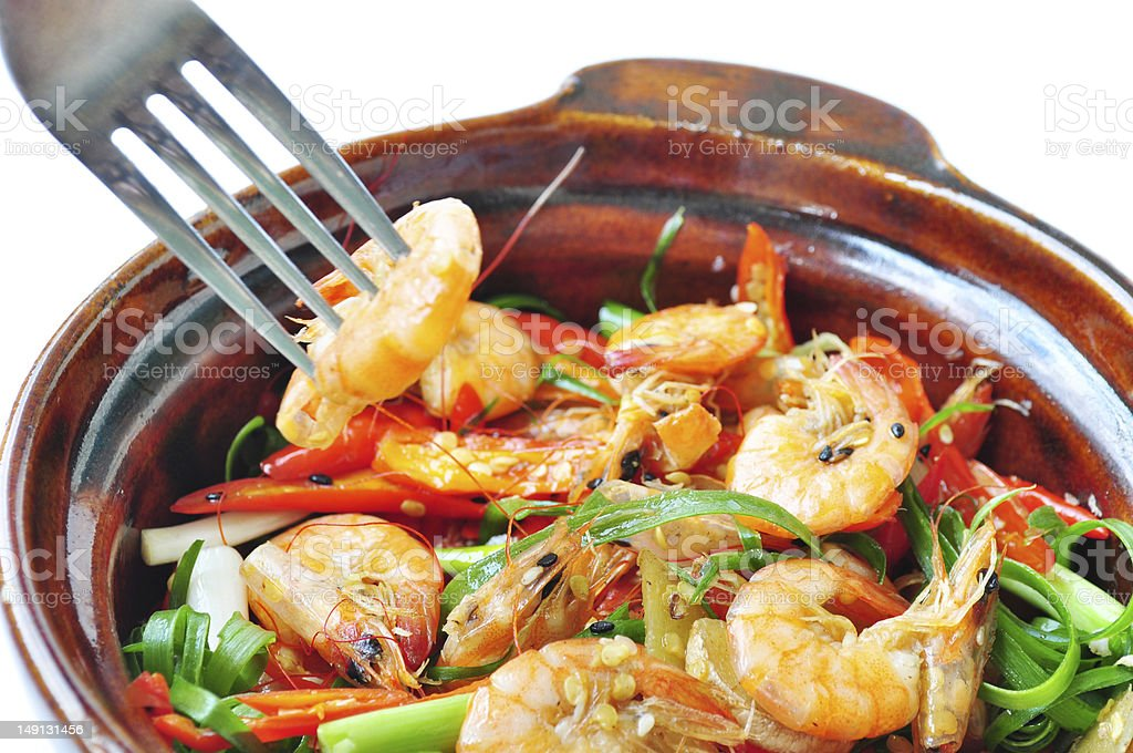 spicy stirfried shrimp royalty-free stock photo