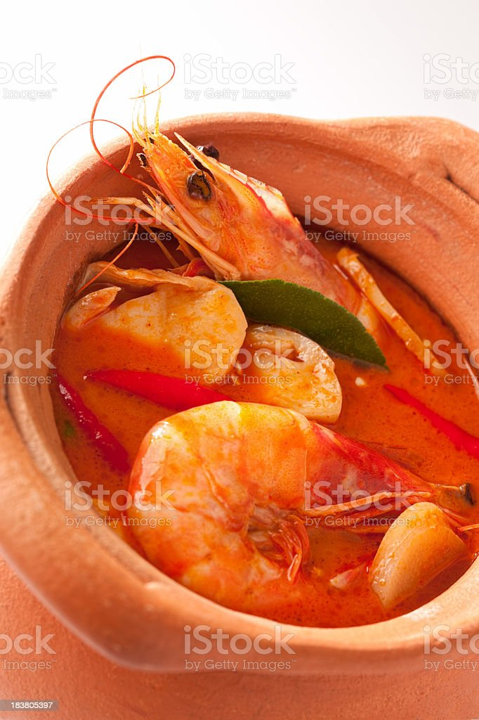 Spicy Thai Tom Yam prawn soup. royalty-free stock photo