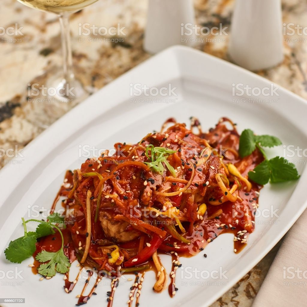 Spicy tofu served on white plate royalty-free stock photo