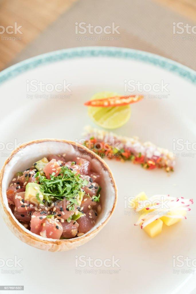 spicy tuna salad stock photo