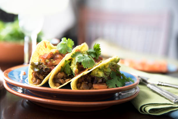 Spicy Vegan Tacos stock photo