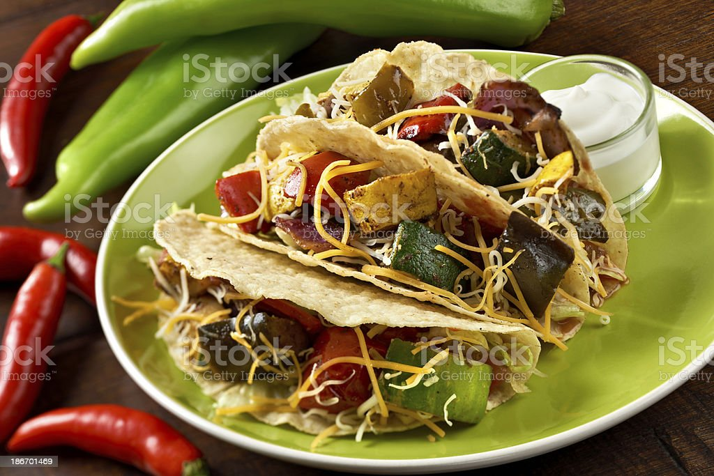 Spicy Vegetable Hard Tacos stock photo