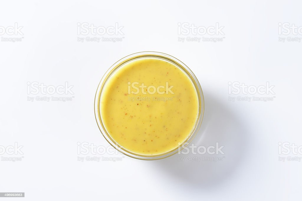 spicy yellow sauce stock photo