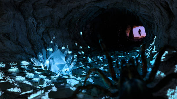 A spider inside a dark cave, full of glowing mushroom andcrystals. Man stands in rays of light in cave entrance. A spider inside a dark cave, full of glowing mushroom andcrystals. Man stands in rays of light in cave entrance. cryptical stock pictures, royalty-free photos & images