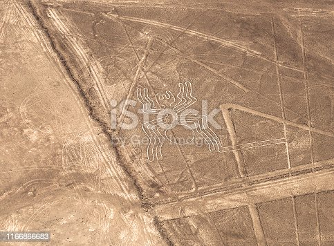 Aerial view of the spider geoglyph drawing in the peruvian coastal desert known as the mysterious Nazca Lines near Nazca city, Peru.