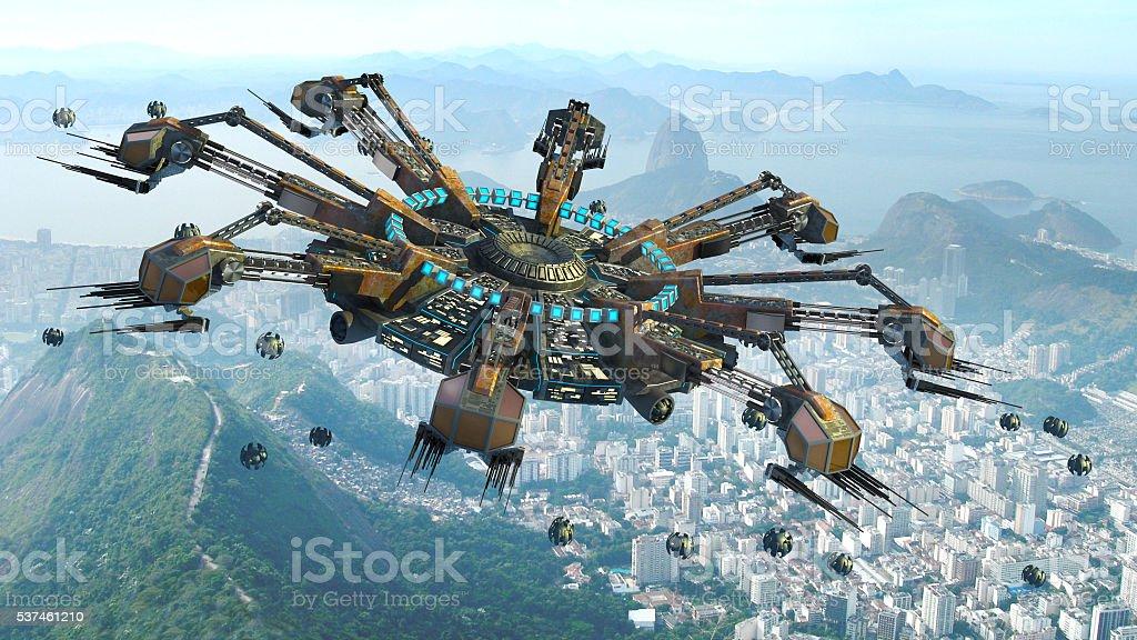 Spider shaped UFO above Rio De Janeiro stock photo