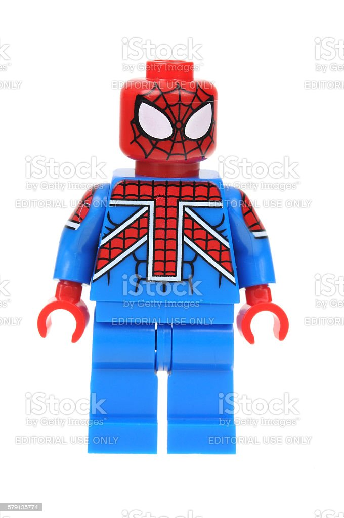 UK Spiderman Lego minifigure stock photo