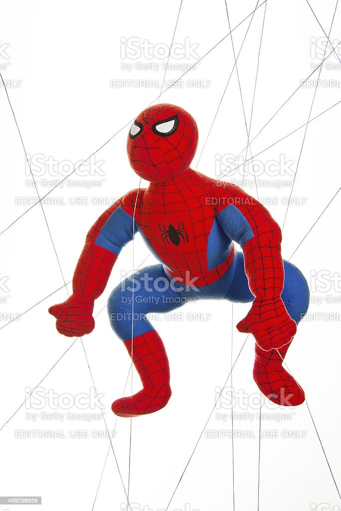 Spiderman Stuffed Toy in Spider Web stock photo