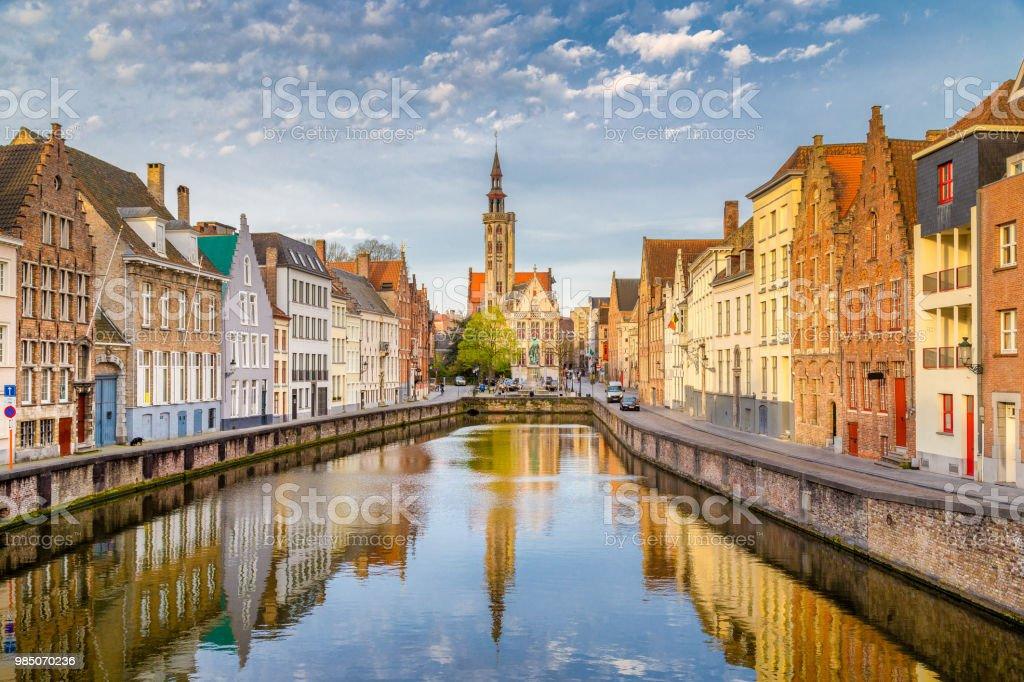 Spiegelrei canal at sunrise, Brugge, Flanders, Belgium stock photo