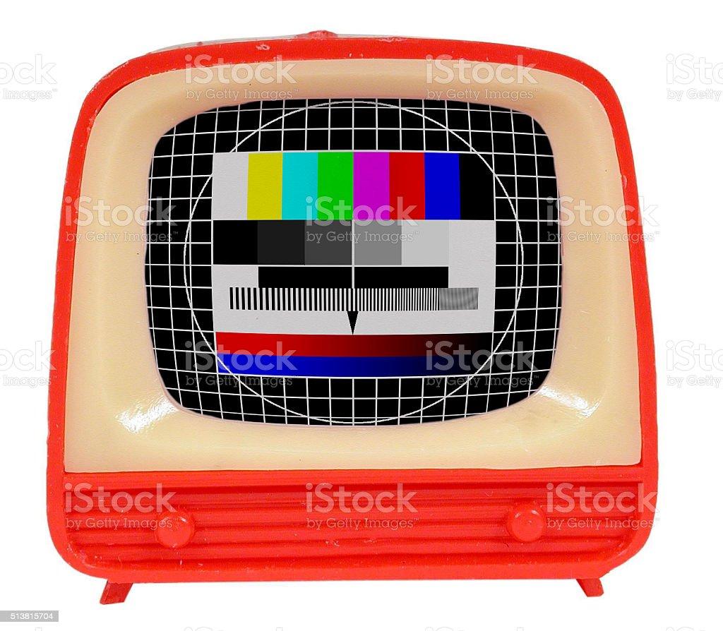 Spielzeug Fernseher mit Testbild stock photo