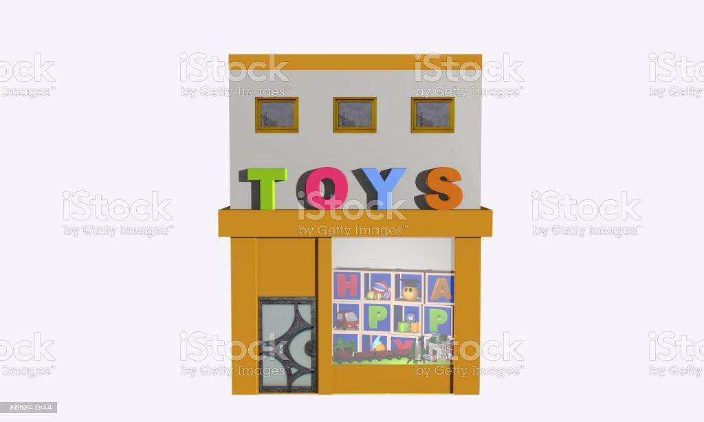Spielzeuggeschäft Auf Weiß Isoliert. – Foto