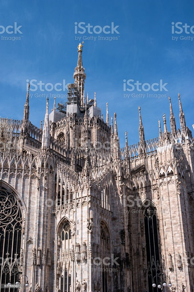 Spiers of the Duomo in Milan, Italy stock photo