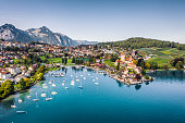 high angle view from drone point of Spiez town