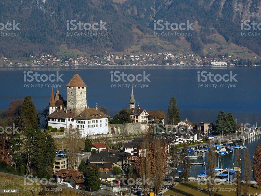 Spiez Castle on lake Thunersee 01, Switzerland royalty-free stock photo