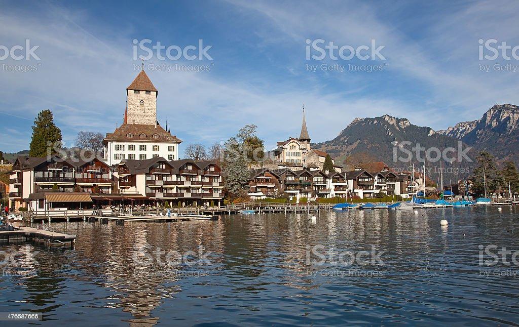 Spiez castle stock photo
