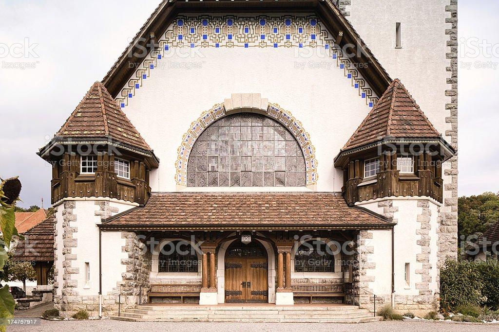 Spiez Church Facade royalty-free stock photo