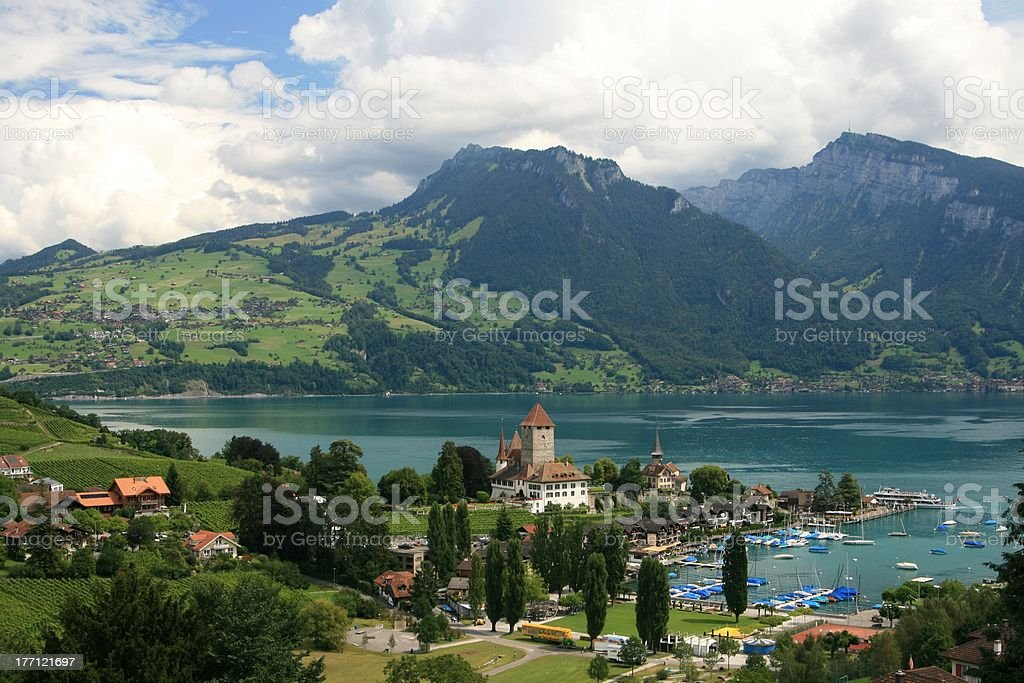 Spiez harbour and the castle, Switzerland royalty-free stock photo