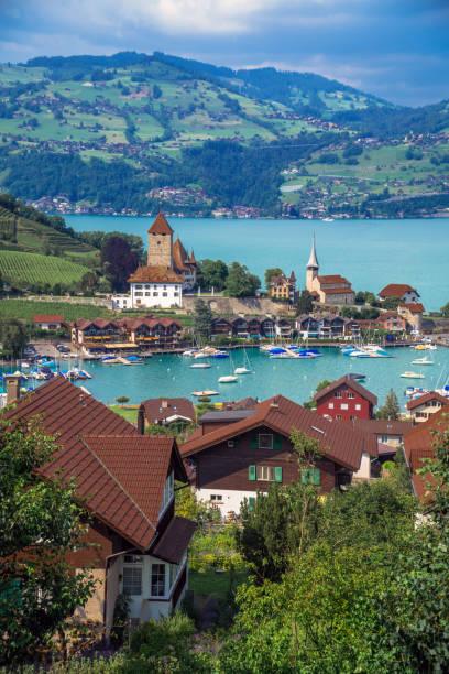 Spiez on the shore of Lake Thun (Lake Thun), Switzerland stock photo