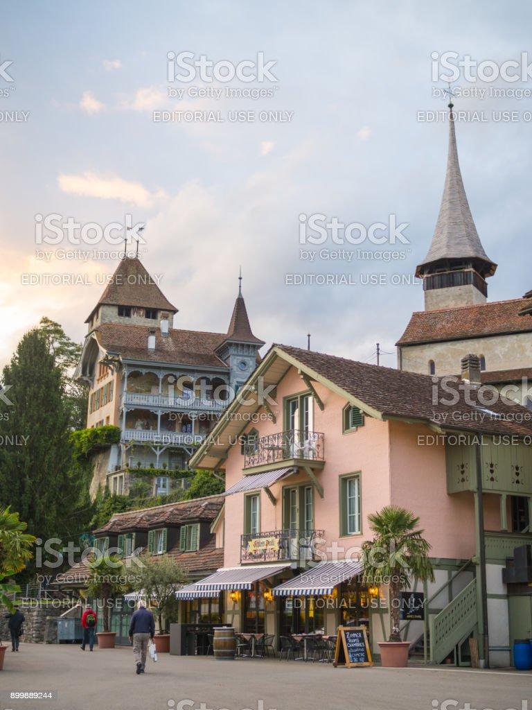 Spiez town view around Lake Thun. stock photo