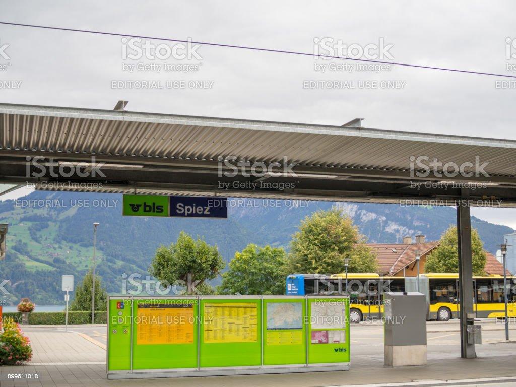 Spiez train staion, Switzerland stock photo
