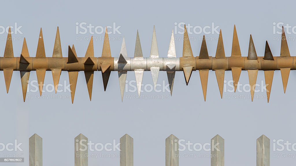 Spiked fence stock photo