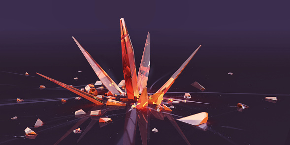 A CG image of shards of orange crystals growing out of central point, surrounded by smaller fragments. Could a metaphor to show spread of virus.