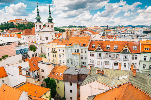 Spilberk Castle and cityscape from Old Town Hall tower in Brno, Czech Republic stock photo