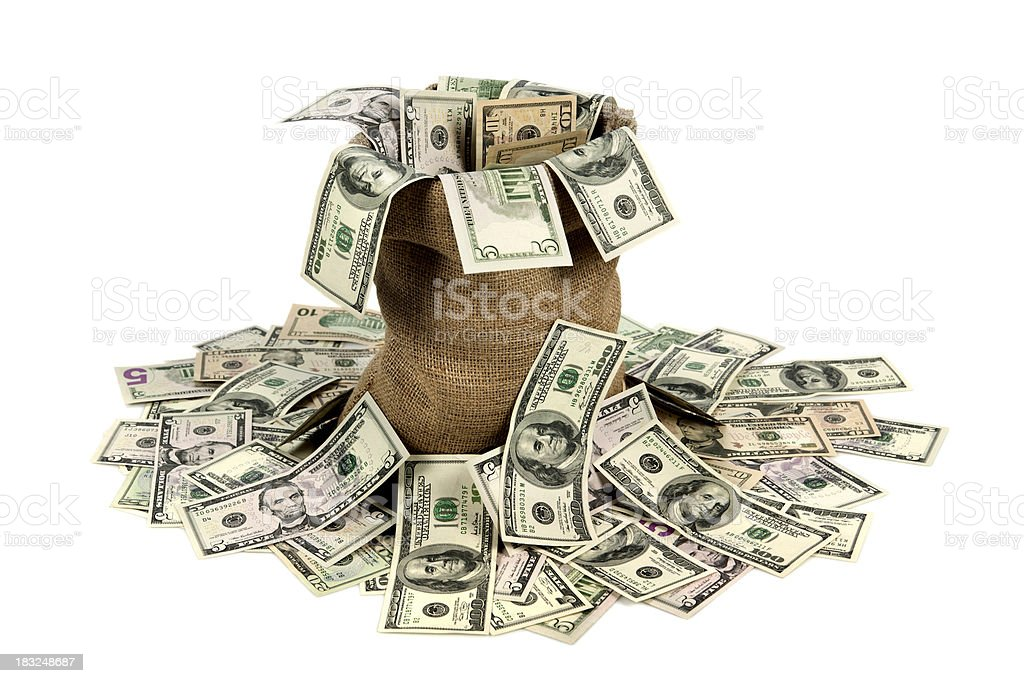 Spilled American dollars stock photo