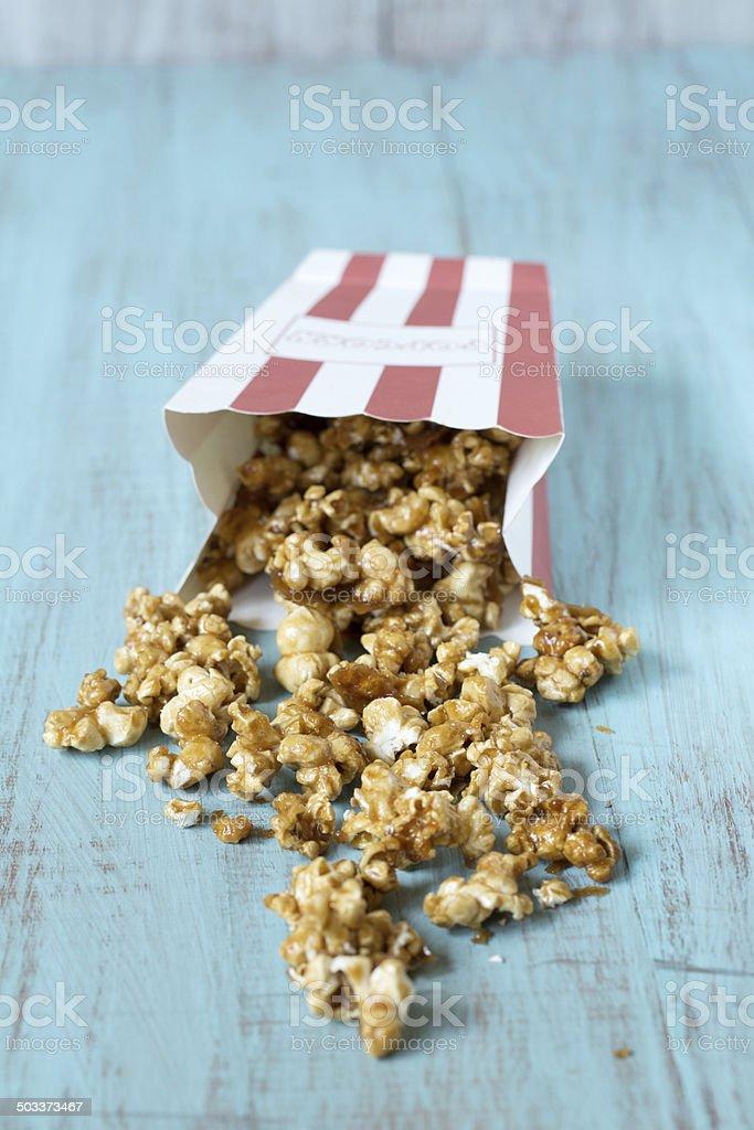 Spilled Caramel Popcorn stock photo