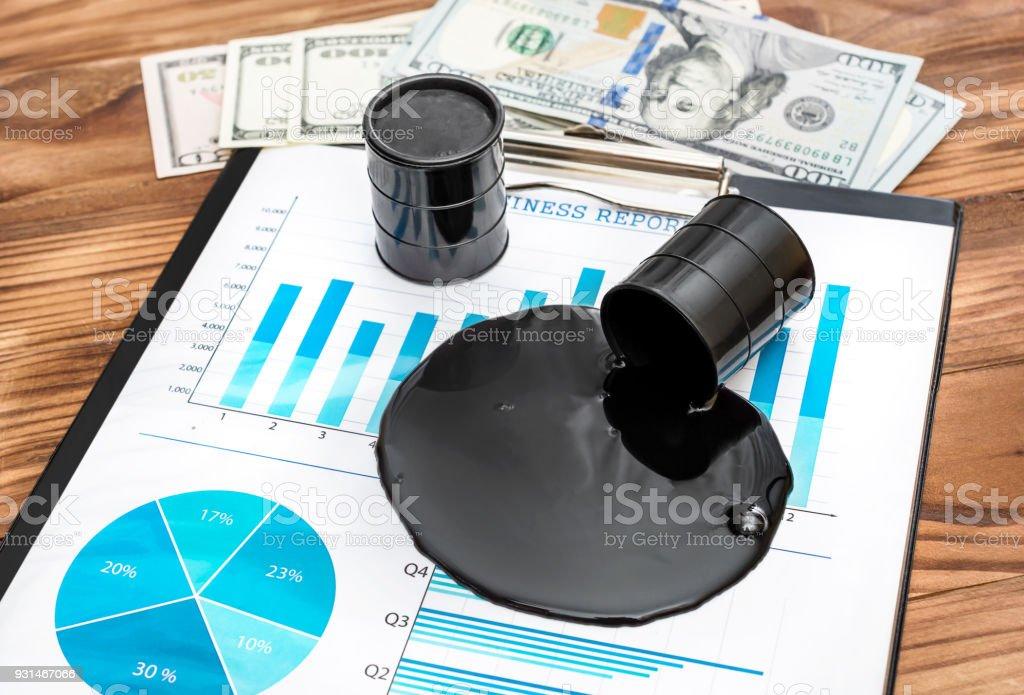Crudo Derramado En Gráficos Financieros Y Dinero En La Mesa Concepto