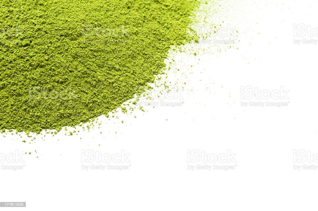 Spilled dried powder green tea stock photo
