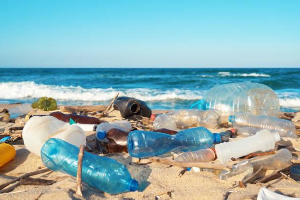 derramó basura en la playa de la gran ciudad. botellas de plástico sucias usadas vacías. botellas de plástico sucias usadas vacías. sucia orilla arenosa del mar negro. contaminación ambiental. problema ecológico - contaminación ambiental fotografías e imágenes de stock