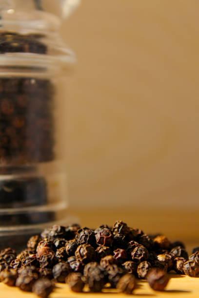 Spilled pepper beans stock photo