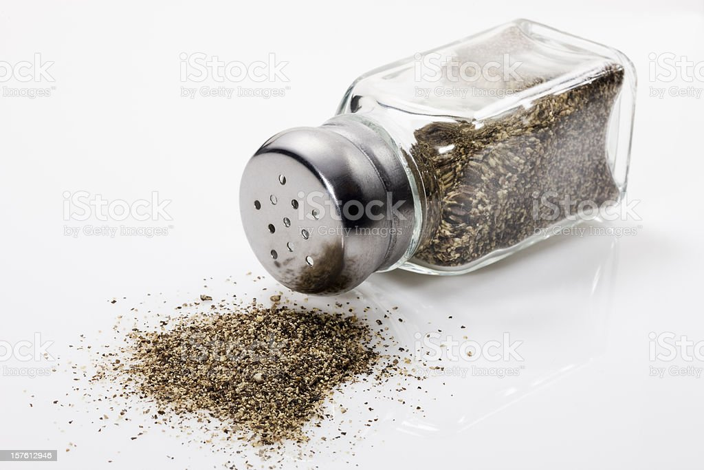 Spilled Pepper shaker, Close up stock photo