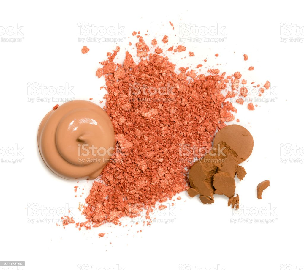 Spilled rouge and poured foundation cream stock photo