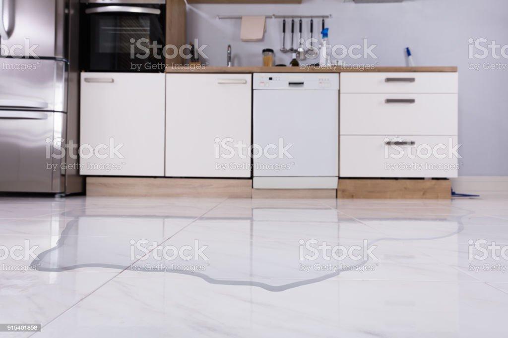 Spilled Water On Kitchen Floor stock photo