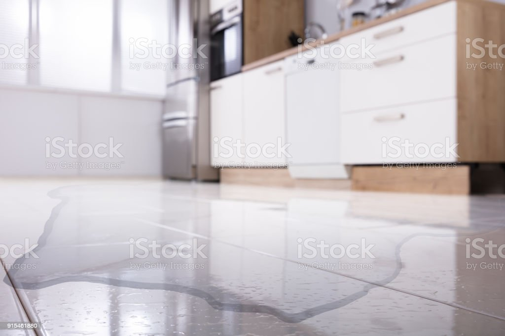 Spilled Water On Kitchen Floor Stock Photo More Pictures Of