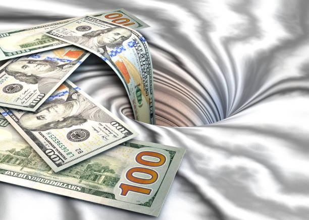 Spin dollars et trou. - Photo