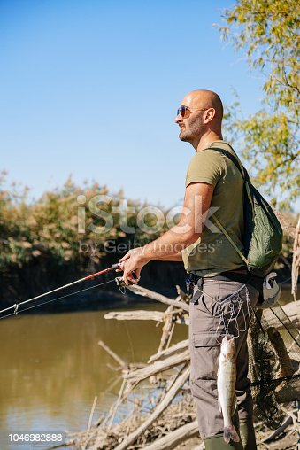 139888169istockphoto Spin fishing on a river with rod 1046982888