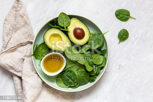 spinach and avocado. Vegetarian concept with copy space