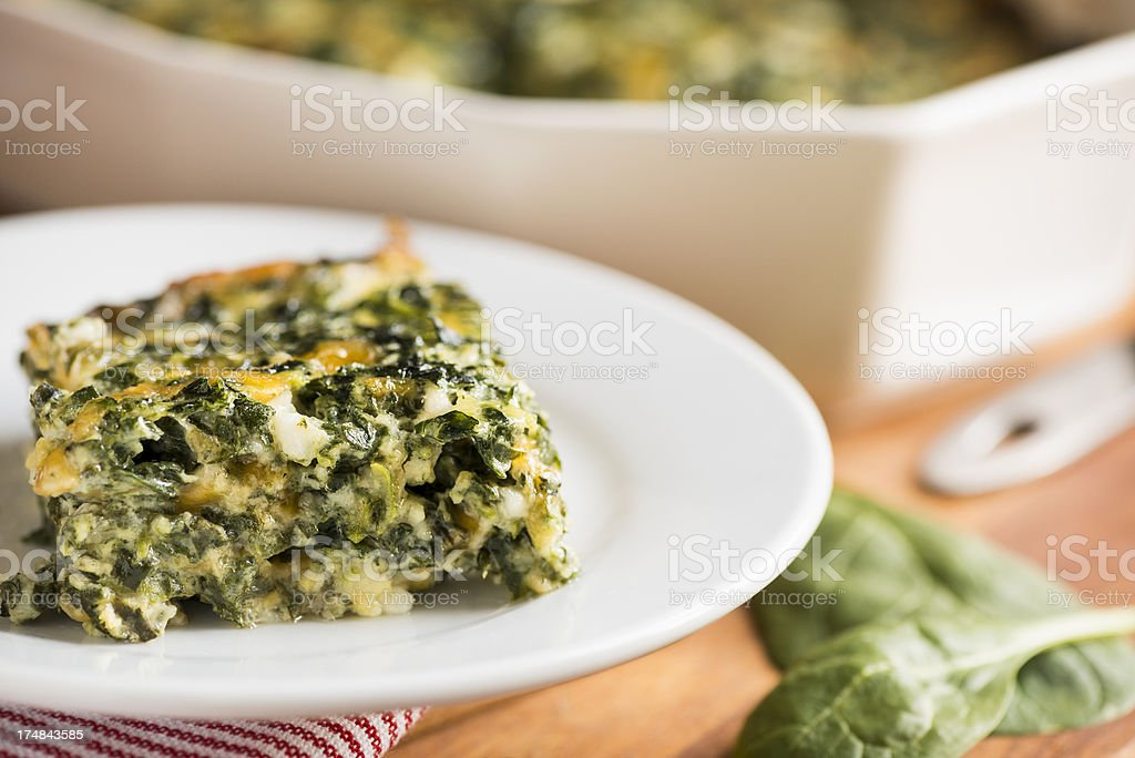 Spinach and Cheese Casserole Horizontal stock photo