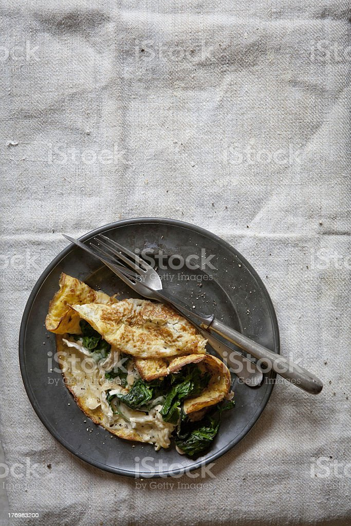Spinach and Cheese Omelette stock photo