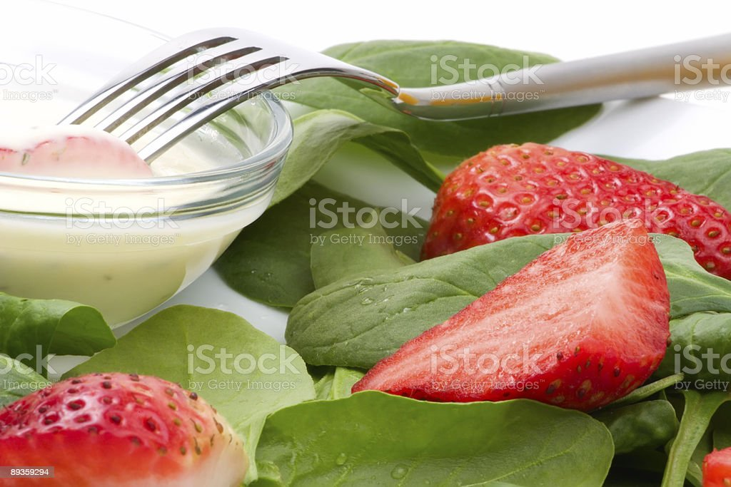 Insalata di spinaci e fragole foto stock royalty-free
