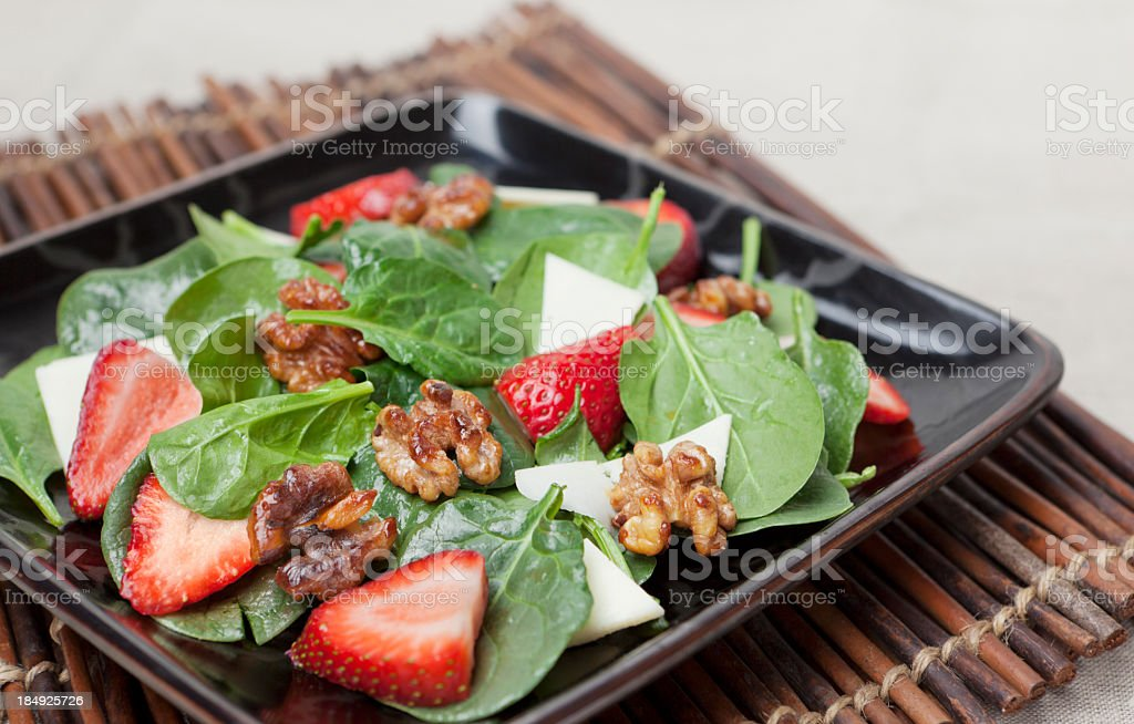 Spinach and strawberry salad royalty-free stock photo
