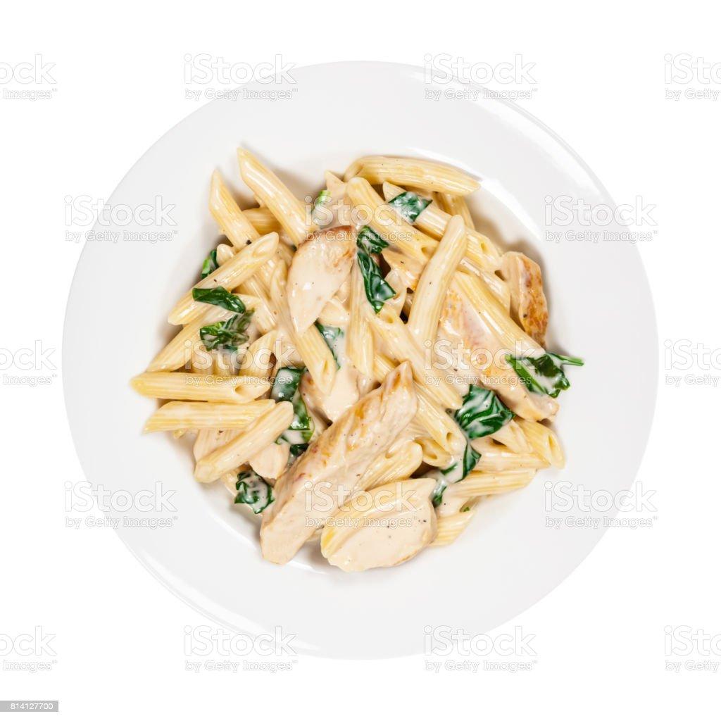 Spinach Chicken Alfredo Parmesan Pasta stock photo