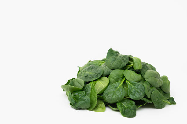 Spinach isolated on white, copy space stock photo