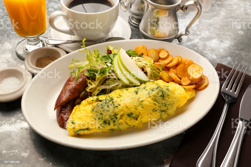 Spinach Omelette Breakfast stock photo