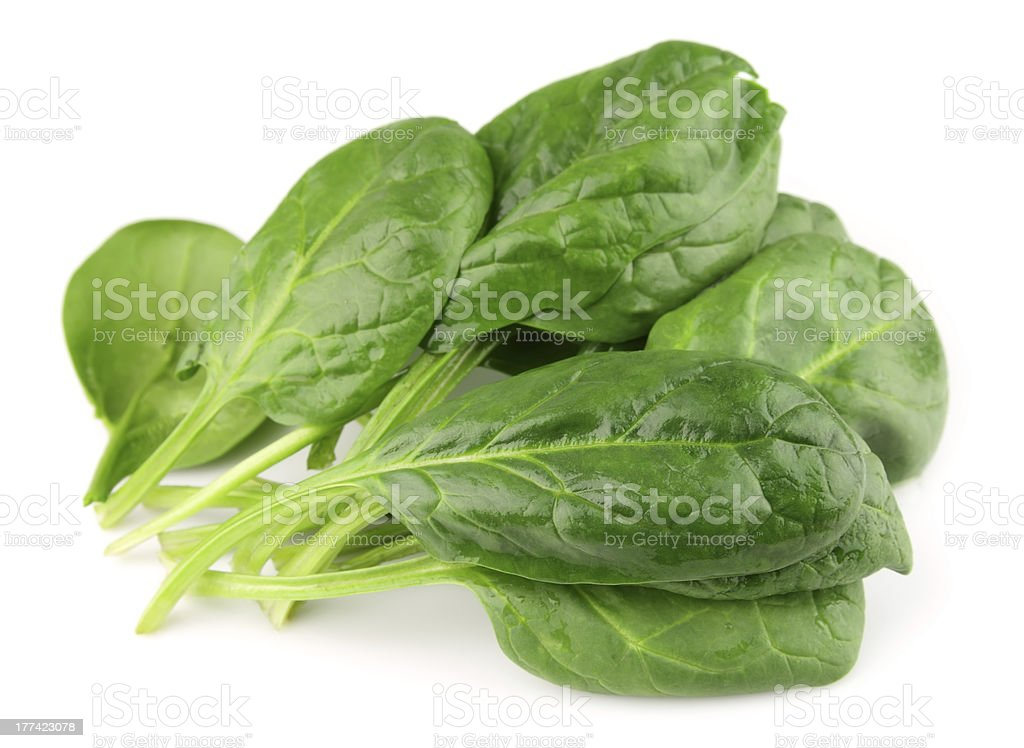 Spinach on  white stock photo