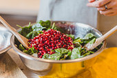Spinach Pomegranate Salad with feta cheese