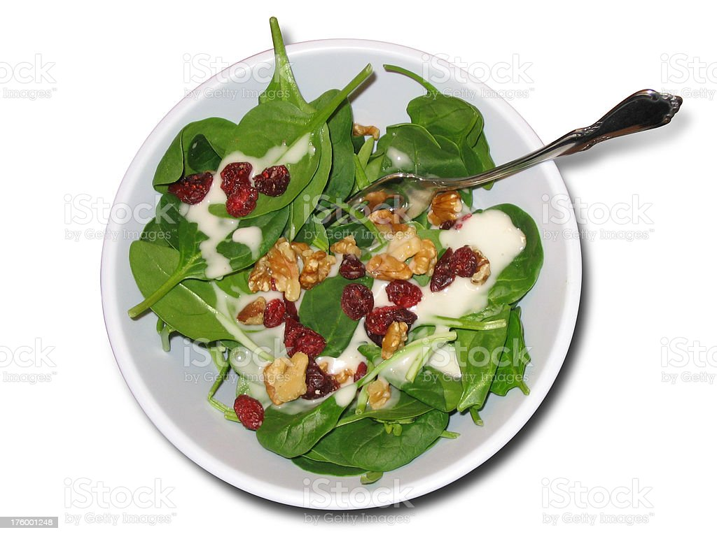 spinach salad (isolated) royalty-free stock photo